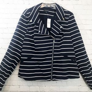 Lane Bryant stripped Navy Blue/white jacket sz 18